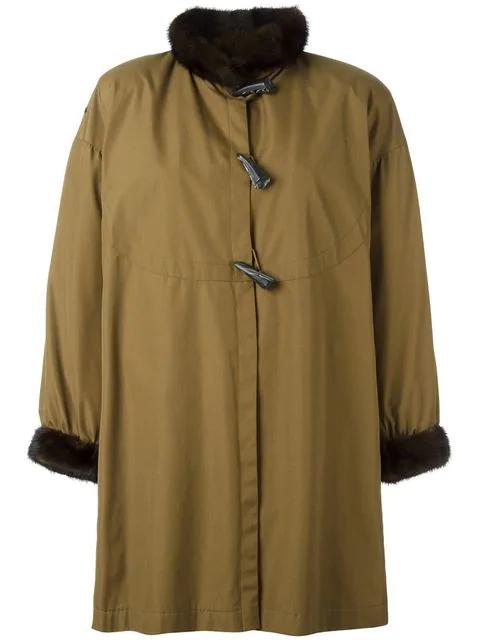 Saint Laurent Toggled Fur Trim Coat In Green