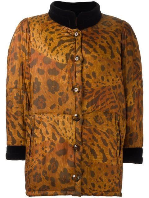 73b51c4a9972 Saint Laurent Yves Vintage Animal Print Padded Coat - Brown