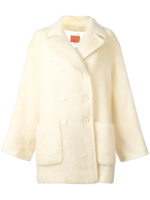 Kenzo Double Breasted Coat In Neutrals