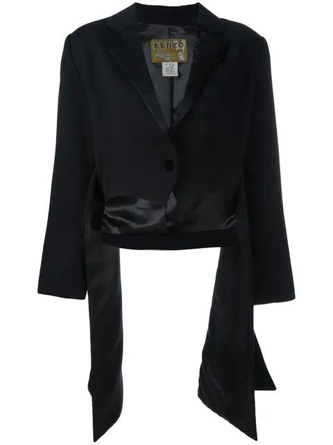 Kenzo Side Draped Jacket In Black
