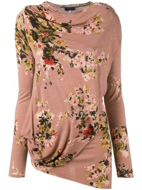 Kenzo Floral Asymmetric Top In Pink