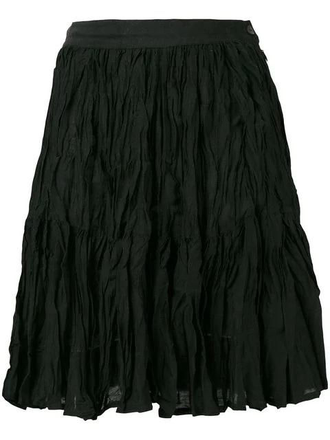 Kenzo Crinkled Skirt In Black