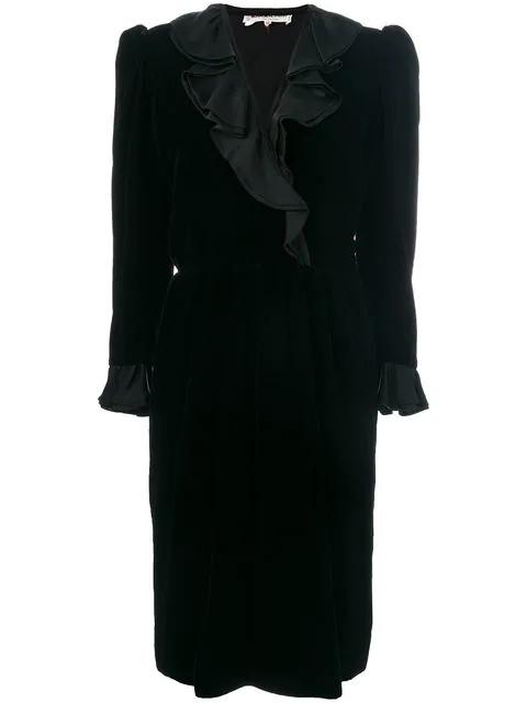 Saint Laurent Long-sleeve Ruffle Dress In Black