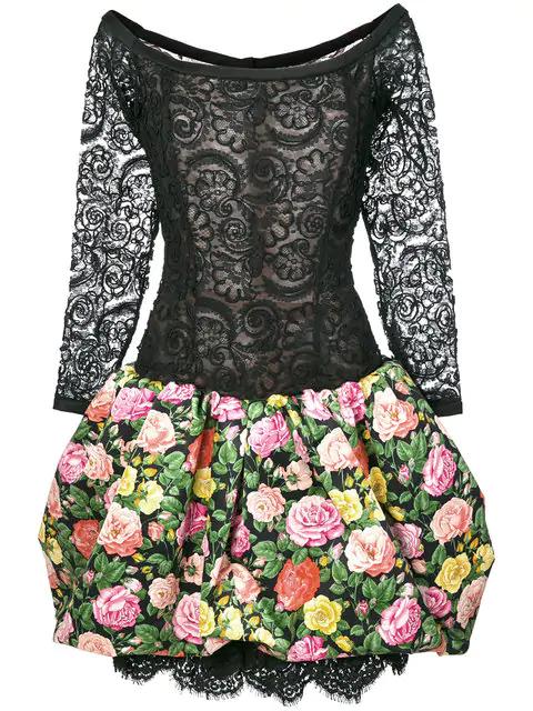Saint Laurent Floral Lace And Print Dress In Black