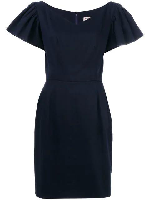 Saint Laurent Ruffle-sleeve Dress In Blue
