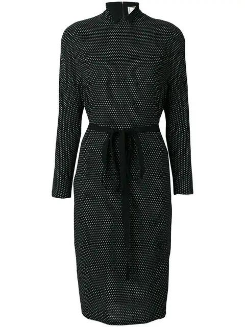 Versace Polka Dot Print Dress In Black