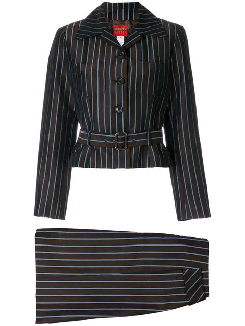 Kenzo Striped Belted Skirt Suit In Brown