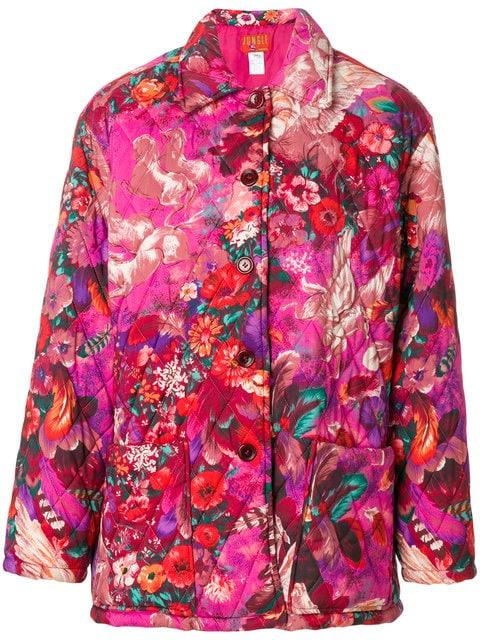 Kenzo Pegas Print Quilted Coat In Pink