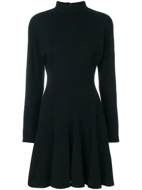 Versace Standing Collar Flared Dress In Black