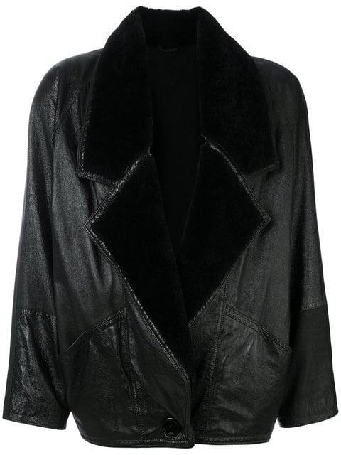 Versace Oversized Shearling Jacket In Black