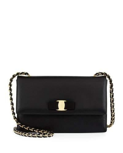 Salvatore Ferragamo Black Patent Calfskin Medium 'Ginny' Chain Link Shoulder Bag