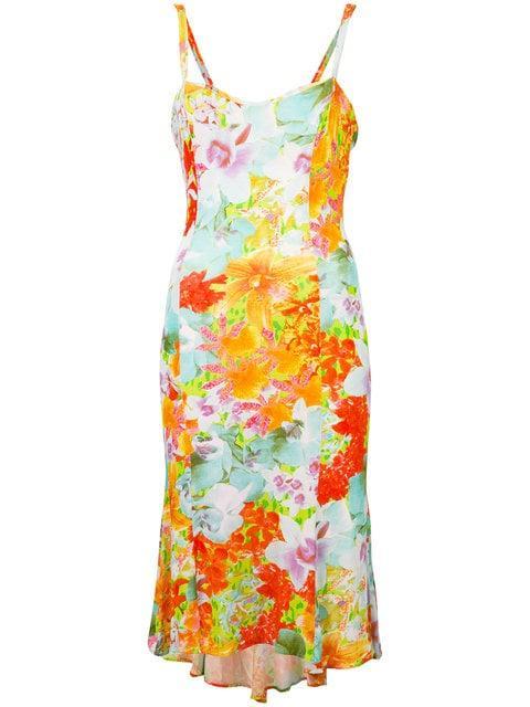 Versace Floral Print Dress In Multicolour