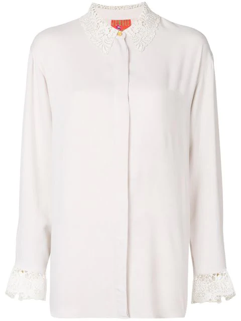 Kenzo Oversized Lace Detail Shirt In White