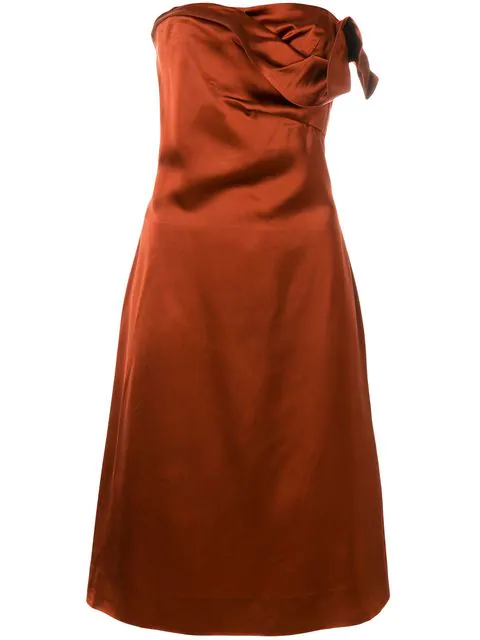 Versace Draped Strapless Dress In Brown