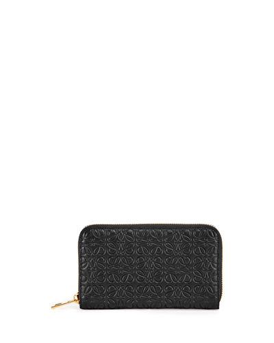 Loewe Embossed Zip-Around Wallet In Black