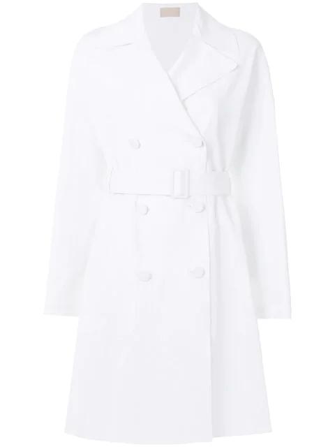Alaïa Midi Trench Coat In White