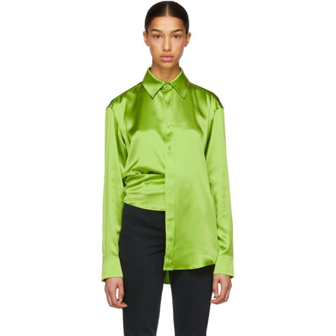 1a6d2abfdb7 Martine Rose Green Asymmetric Silk Shirt In Lgr | ModeSens