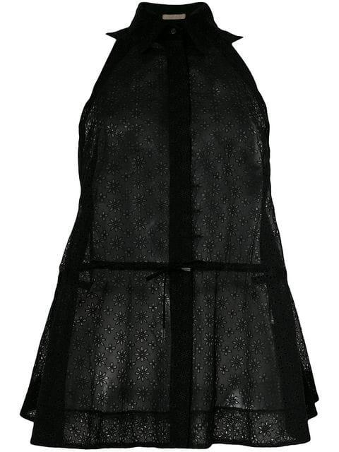 Alaïa Sheer Drawstring Sleeveless Shirt In Black