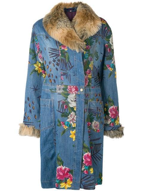 Kenzo Floral Denim Coat In Blue