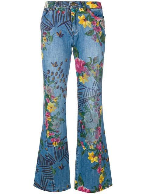 Kenzo Floral Flared Jeans In Blue