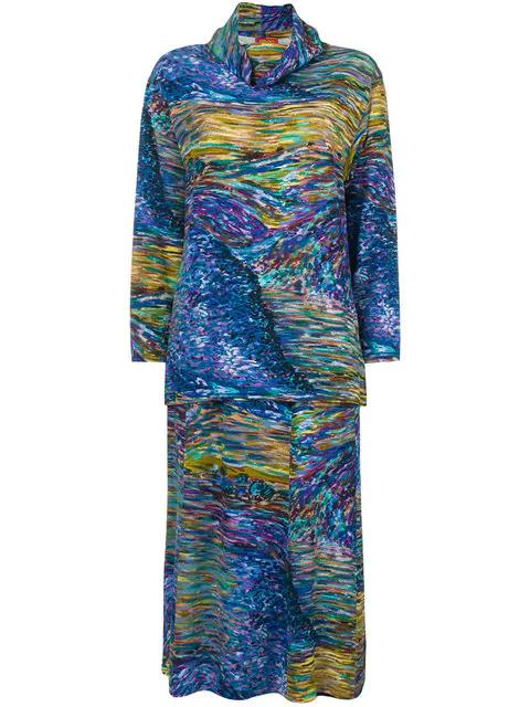 Kenzo Abstract Print Skirt Ensemble In Blue