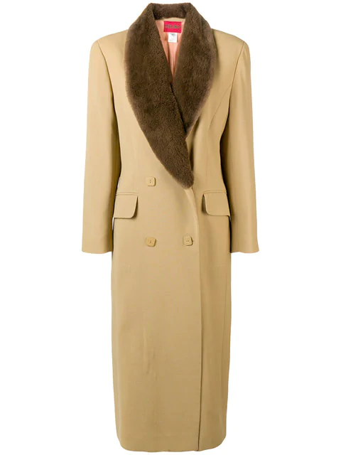 Kenzo Double Breasted Long Coat In Neutrals
