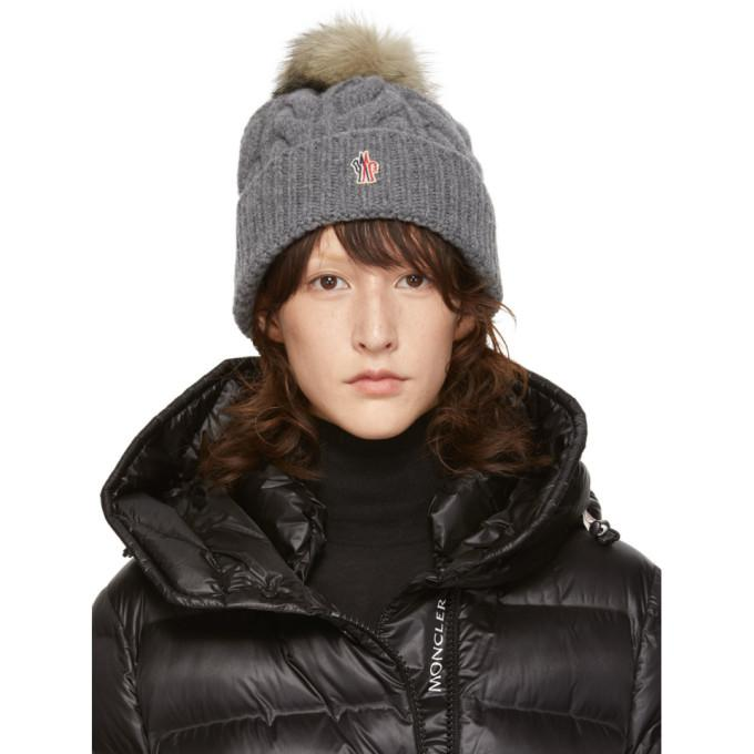 1efcbb97df5 Moncler Grenoble Grey Fur Pom Pom Beanie In 985 Grey