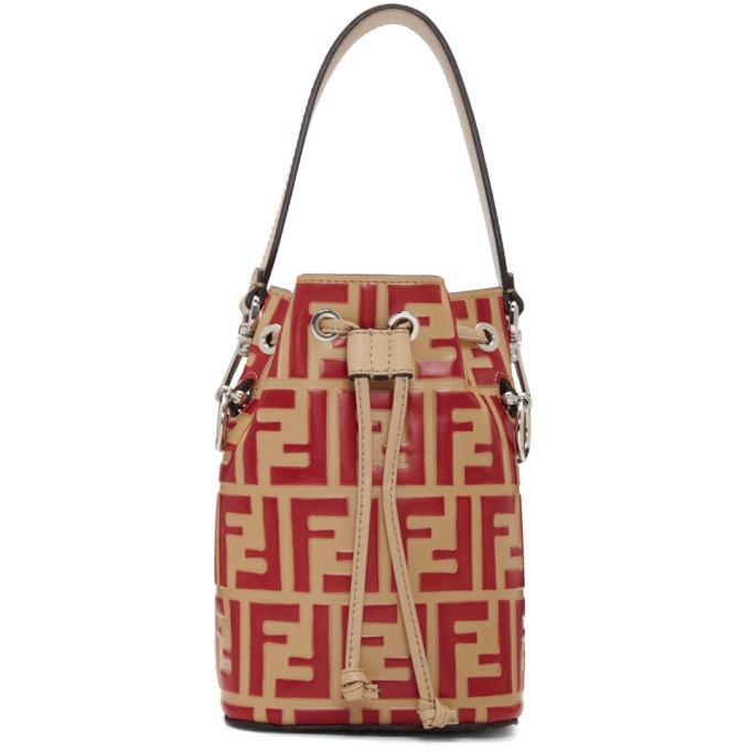 Fendi Red And Beige Forever  Mini Mon Tresor Bag In F12Fv Red