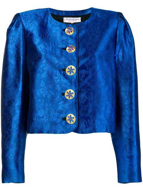 Saint Laurent 1980's Cropped Jacket In Blue