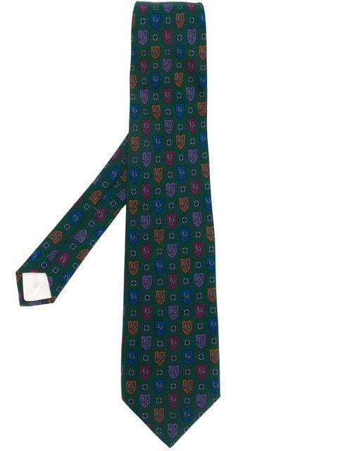 Saint Laurent Printed Tie In Green