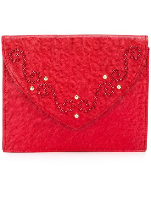 Saint Laurent Studded Clutch In Red