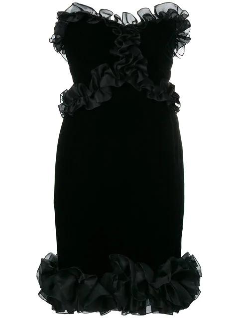 Saint Laurent Frill-trim Fitted Dress In Black