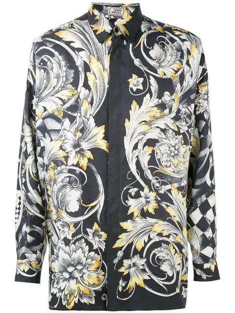 Versace Baroque Print Shirt In Black