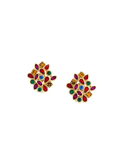 a4d86959adc Saint Laurent Yves Vintage Crystal Embellished Earrings - Yellow ...