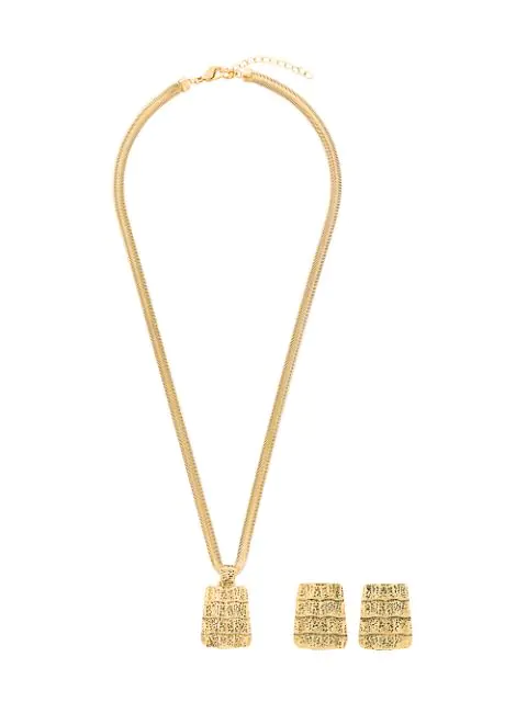 92e77dd5b65 Saint Laurent Yves Vintage Textured Necklace & Earrings Set - Metallic
