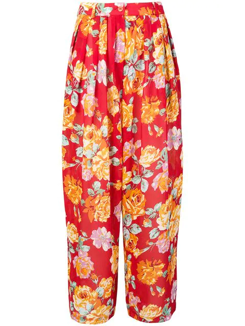 Kenzo Floral Wide-legged Trousers In Red