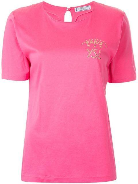 Saint Laurent Studded Logo T-shirt In Pink
