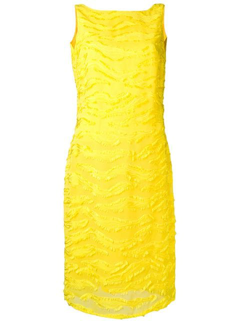 Versace 1990's Textured Fitted Dress In Yellow