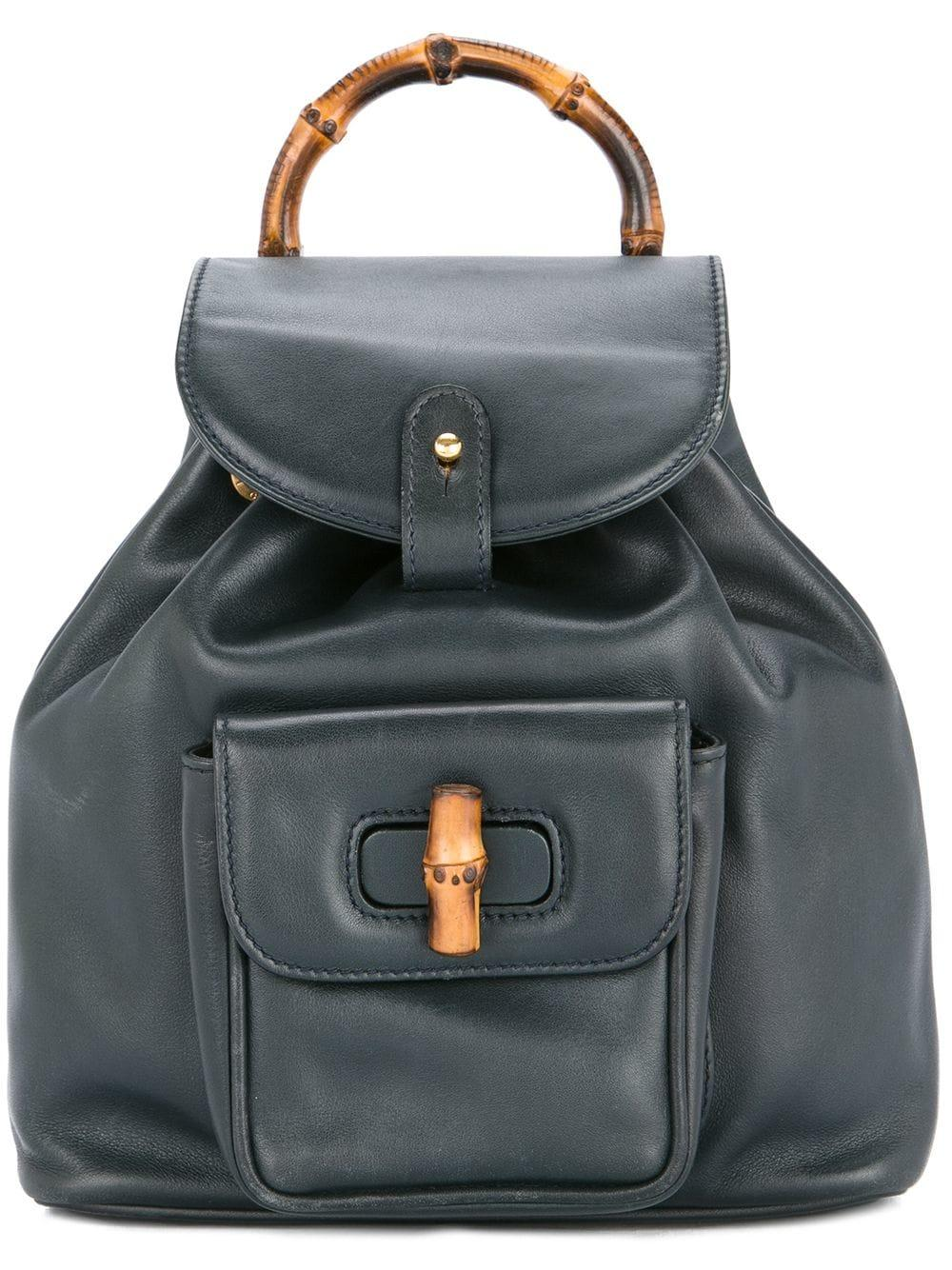 33bbc6f938b24f Gucci Vintage Bamboo Detailing Backpack - Blue | ModeSens