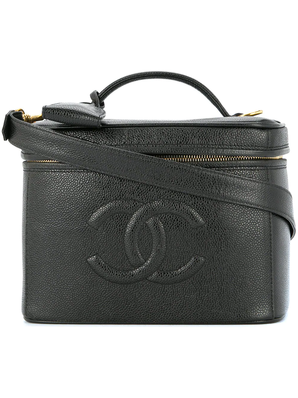 2a02ace49ed6f7 Chanel Cosmetic Vanity Hand Bag In Black | ModeSens