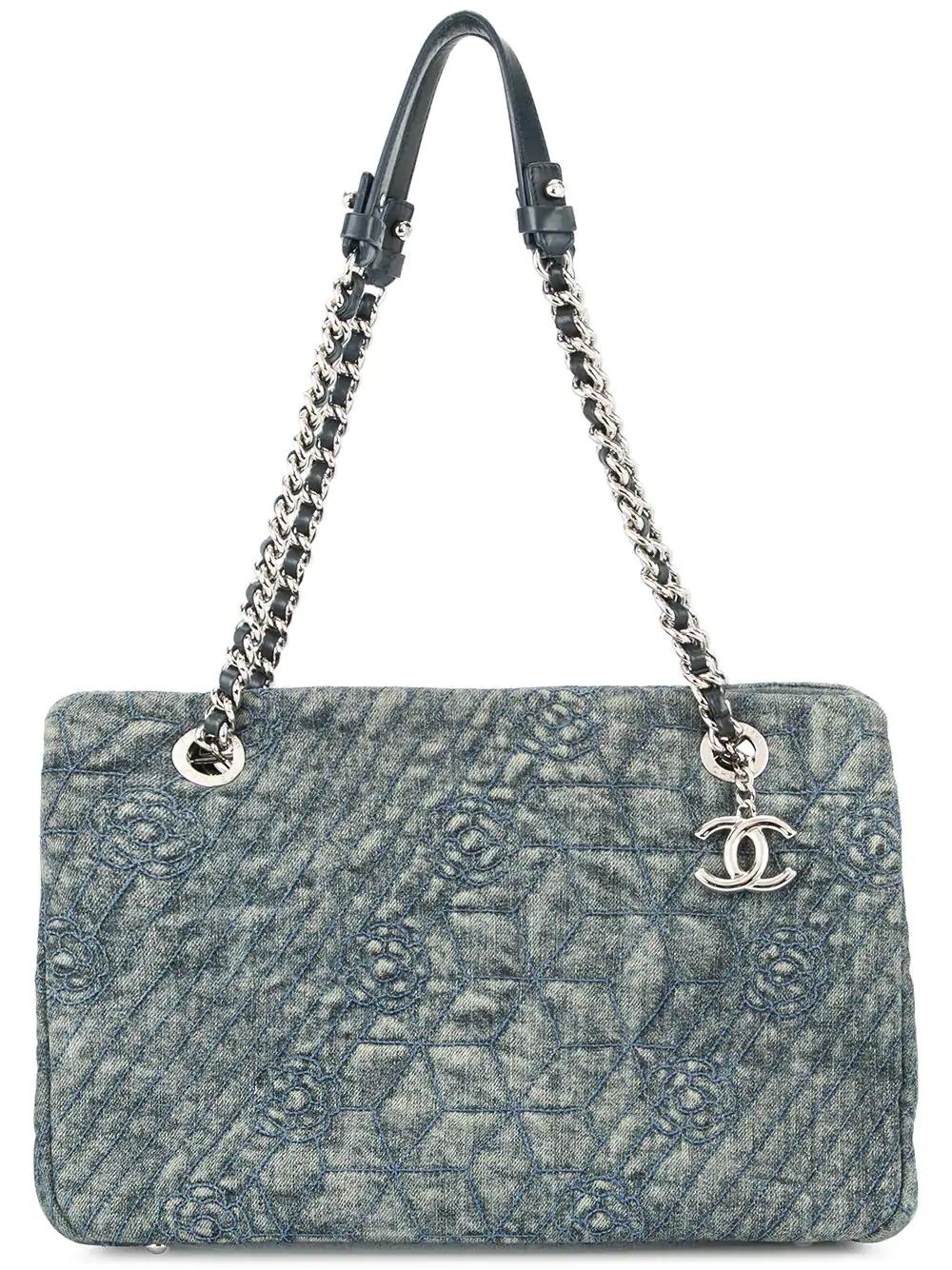 c17edafd9c07 Chanel Vintage Camellia Stitch Shoulder Bag - Blue | ModeSens