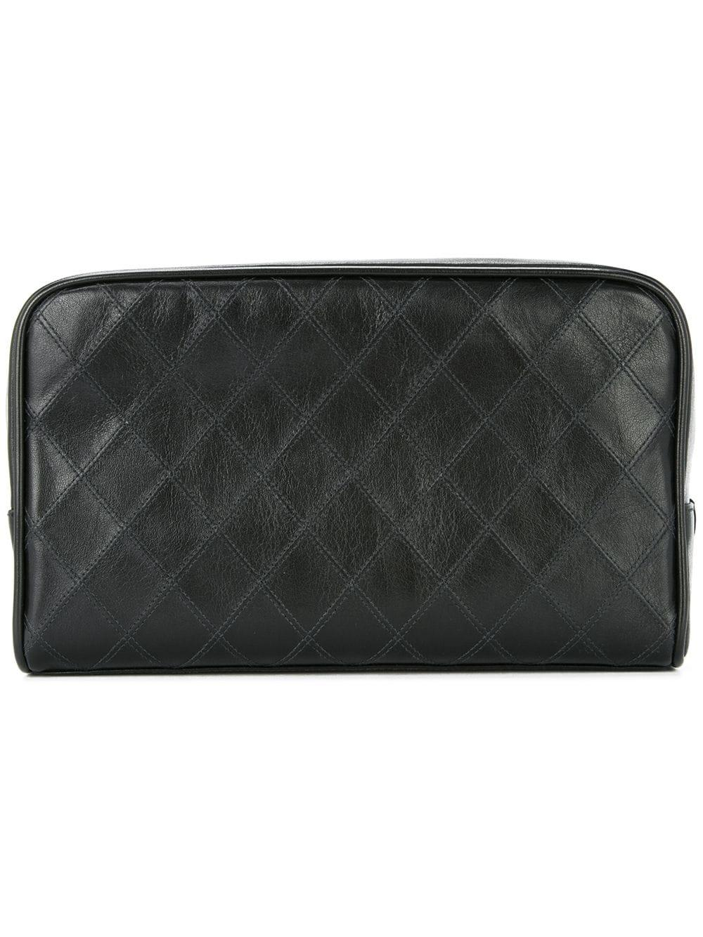 a5c51d88acdc3b Chanel Vintage Cosmos Line Quilted Cc Cosmetic Bag - Black | ModeSens
