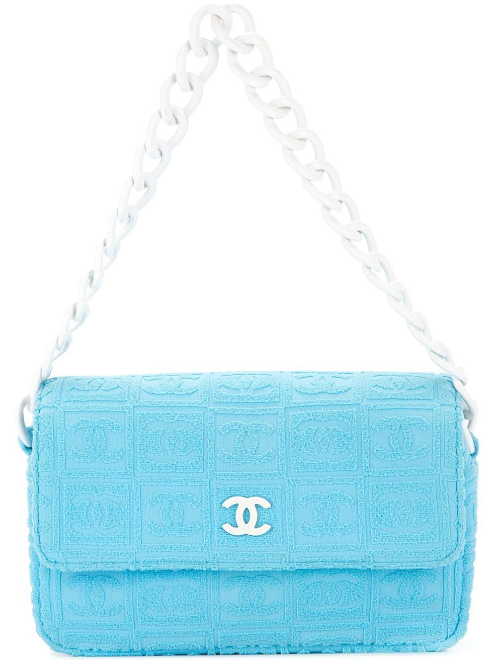 6d5ba299c35a Chanel Vintage Cc Logos Plastic Chain Shoulder Bag - Blue