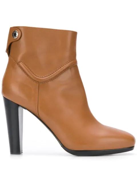 Hermes High-Heel Ankle Boots In Dark Caramel