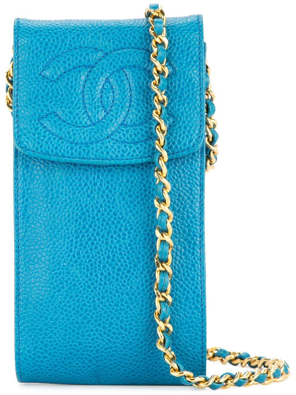 967041466bd57b Chanel Vintage Chain Shoulder Bag Phone Case - Blue | ModeSens
