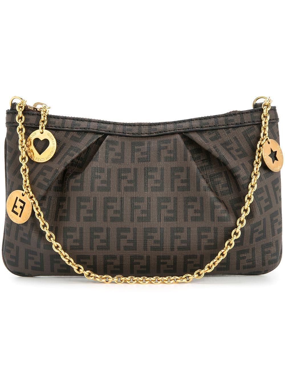 4f58d7e230c Fendi Zucca Pattern Identification Chain Hand Bag In Brown | ModeSens