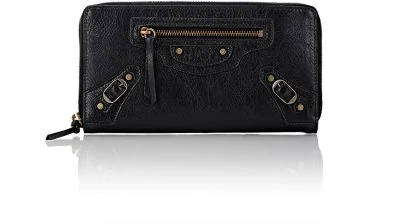 Balenciaga Classic Continental Lambskin Zip-Around Wallet In Black