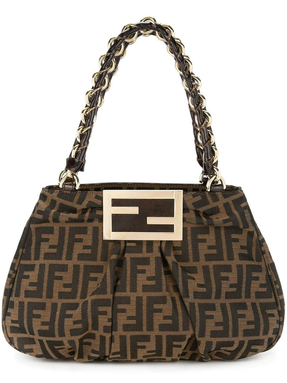 4f10a13626a4 Fendi Vintage Zucca Pattern Chain Hand Bag - Farfetch In Brown ...