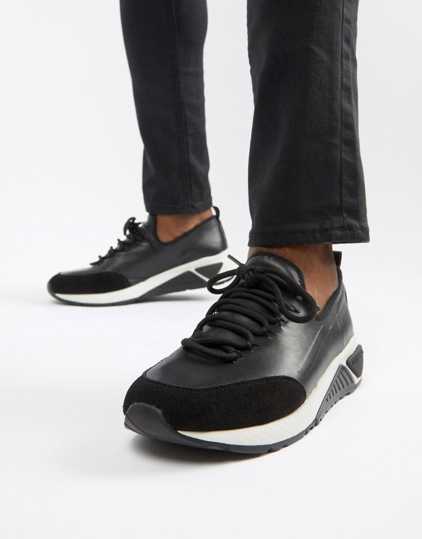 Diesel S-kby Runner Leather Sneakers - Black