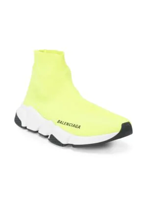 new product 81b5f 83a88 Balenciaga Speed Trainer Sock Sneakers In Yellow